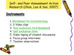 self and peer assessment action research chan lee sun 20072