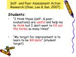 self and peer assessment action research chan lee sun 20074
