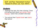self and peer assessment action research chan lee sun 20076