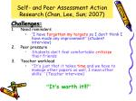 self and peer assessment action research chan lee sun 20077