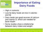 importance of eating dairy foods