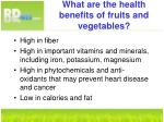 what are the health benefits of fruits and vegetables