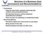 structure of a business case conclusions and recommendations
