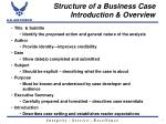 structure of a business case introduction overview
