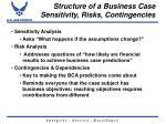 structure of a business case sensitivity risks contingencies