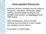 unacceptable resources