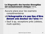 le diagnostic des hernies trangl es est exclusivement clinique