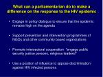 what can a parliamentarian do to make a difference on the response to the hiv epidemic