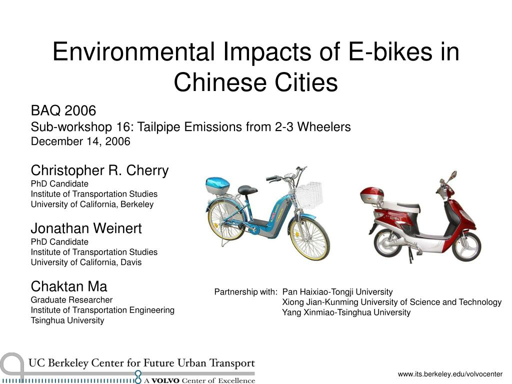 environmental impacts of e bikes in chinese cities l.