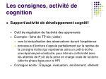 les consignes activit de cognition