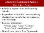 method of summated ratings the likert scale
