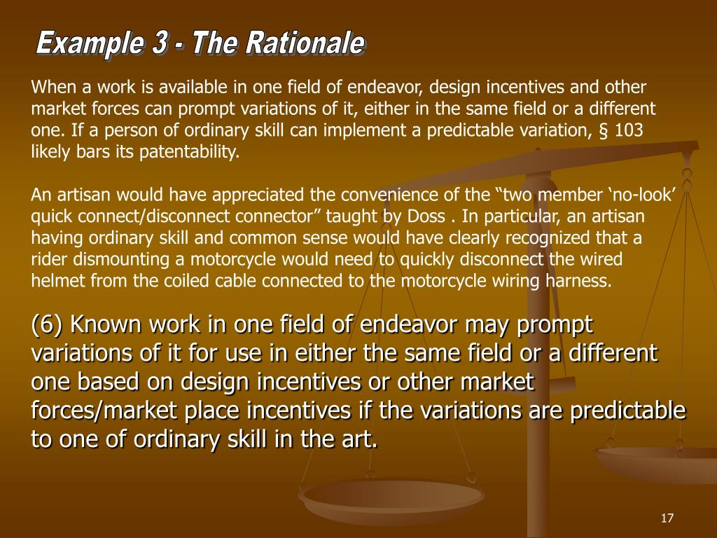 Example 3 - The Rationale