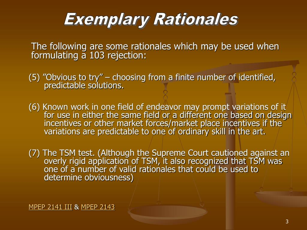 Exemplary Rationales