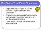 pre test true false questions