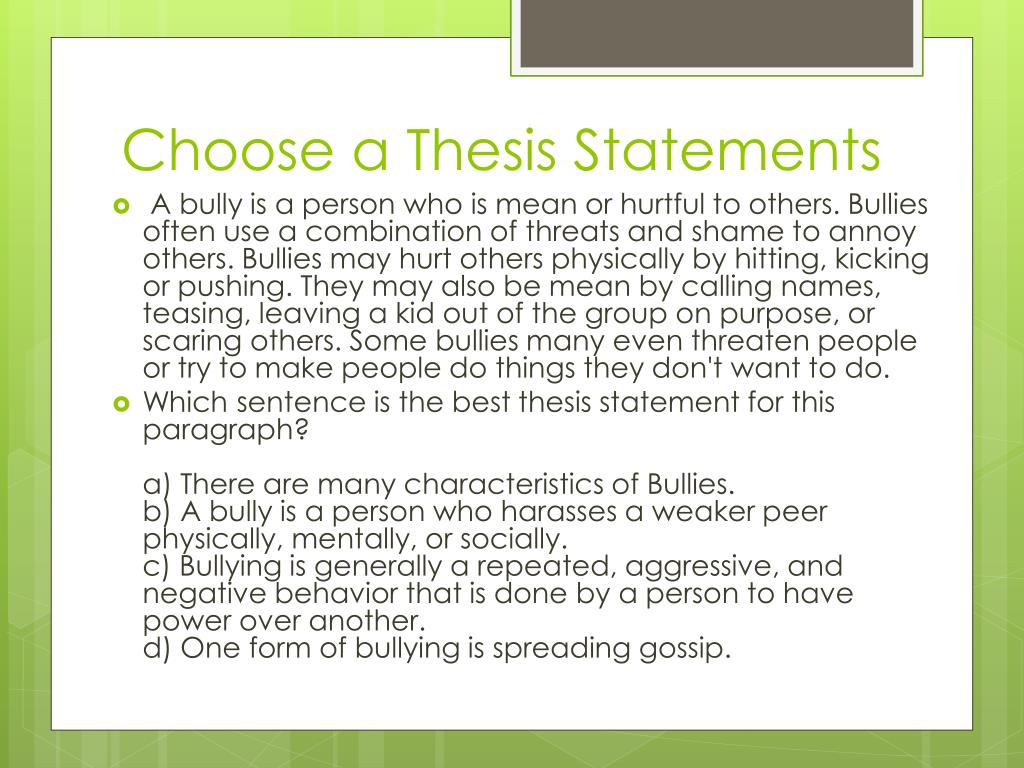 thesis statement about bullying