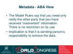 metadata aba view