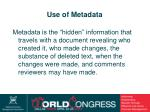 use of metadata