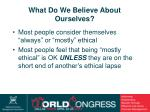 what do we believe about ourselves