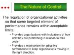 the nature of control
