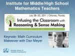 institute for middle high school mathematics teachers