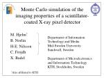 monte carlo simulation of the imaging properties of a scintillator coated x ray pixel detector
