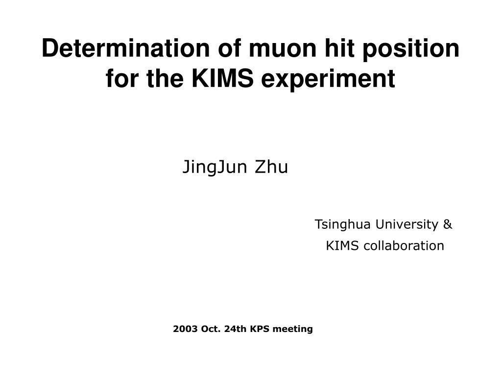determination of muon hit position for the kims experiment l.