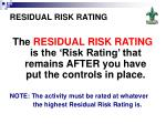 residual risk rating