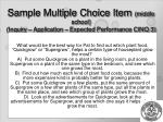 sample multiple choice item middle school inquiry application expected performance cinq 3