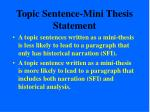 topic sentence mini thesis statement