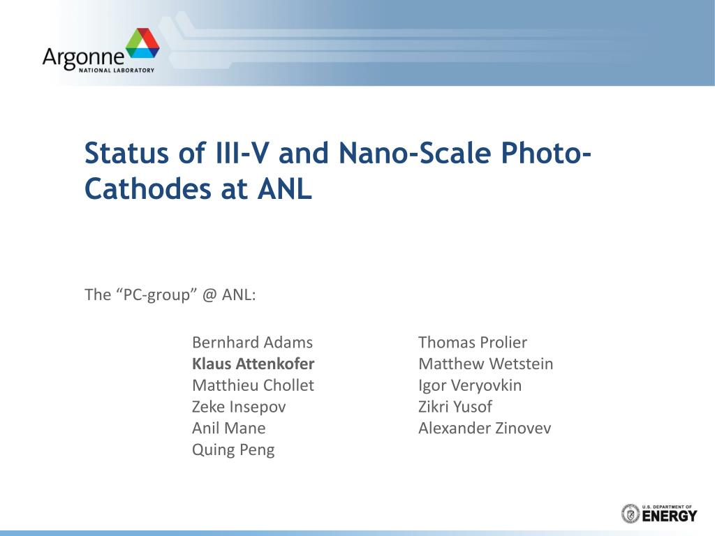 status of iii v and nano scale photo cathodes at anl l.