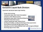 exclusive liquid bulk division