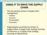 using it to drive the supply chain