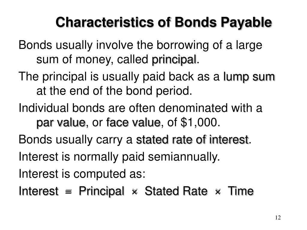 Characteristics of Bonds Payable