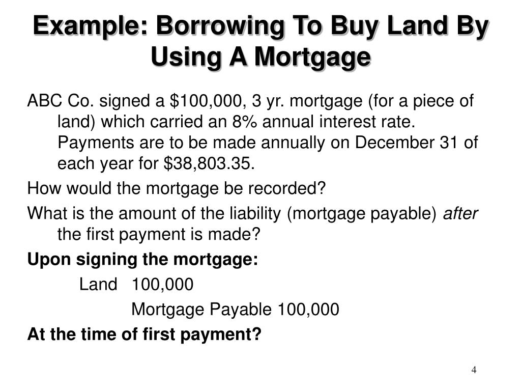 Example: Borrowing To Buy Land By Using A Mortgage