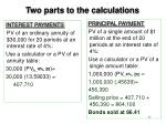 two parts to the calculations