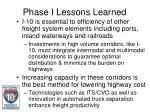 phase i lessons learned14