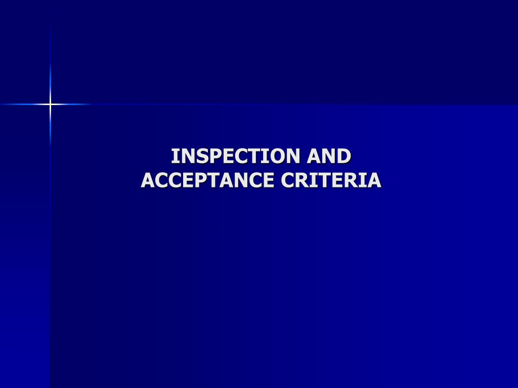 inspection and acceptance criteria l.
