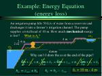 example energy equation energy loss