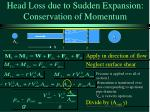 head loss due to sudden expansion conservation of momentum