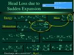 head loss due to sudden expansion