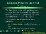 resultant force on the solid surfaces