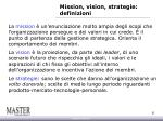 mission vision strategie definizioni