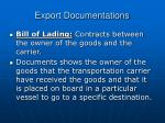 export documentations