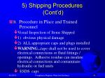 5 shipping procedures cont d