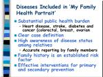 diseases included in my family health portrait