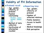 validity of fh information