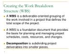 creating the work breakdown structure wbs
