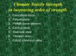 ultimate tensile strength in increasing order of strength