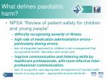 what defines paediatric harm