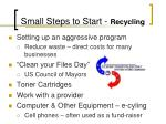 small steps to start recycling